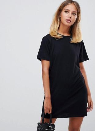 Базовое чёрное платье футболка missguided