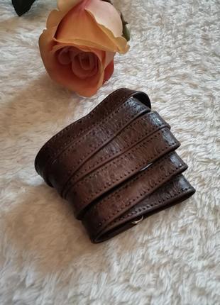 Плечевой коричневый ремень для сумки под кожу страуса