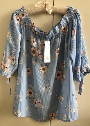 Вискозная блузка в полоску с цветами f&f, p.10/38/m