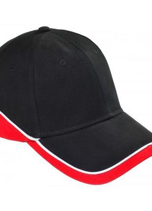 Классная кепка бейсболка качество 55-62 р котон черная красная
