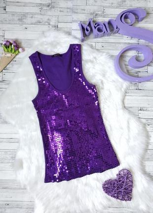 Майка kikiriki женская фиолетовая  с пайетками
