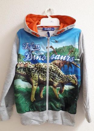 Кофта на молнии с капюшоном для мальчика s&d динозавры размеры 86, 92