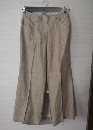 Льняные  модные  брюки кюлоты палаццо
