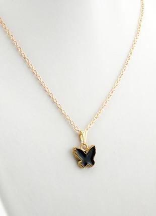 Изысканный кулон бабочка с черной эмалью и цепочкой по супер цене