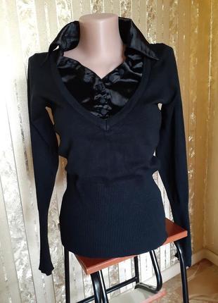 Кофта с атласной рубашкой полувер джемпер трикотажный черный с отложным воротником