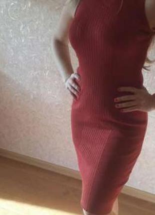 Платье миди в рубчик dilvin