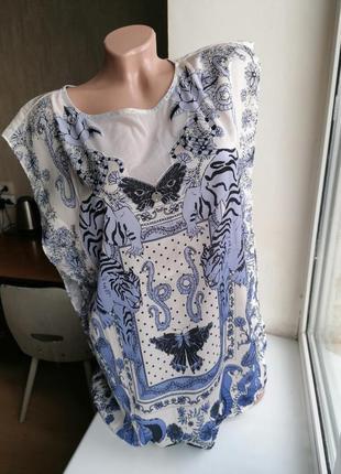 Легкая блузка с узором рисунком тигры guess оригинал (к079)