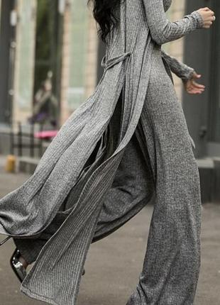 Серый костюм ангора-резинка с люрексом3 фото