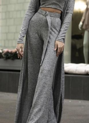 Серый костюм ангора-резинка с люрексом4 фото