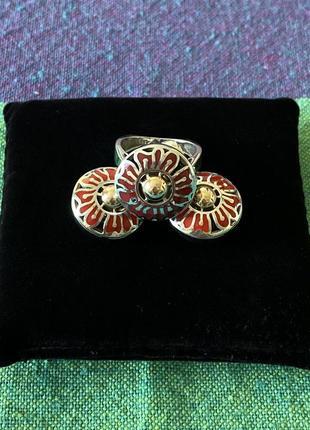 Комплект серебряных украшений с золотом и эмалью