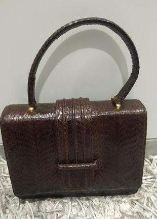 Шикарная винтажна сумка из натуральной кожи питона.