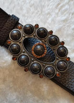 Ремень пояс экокожа коричневый стиль roberto cavalli morgan etro