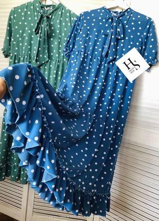 💐великолепное платье миди с рюшей свободного кроя(см.замеры)