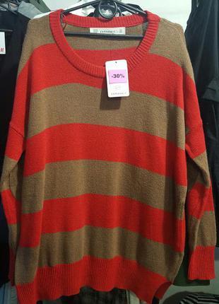 Стильный свитер zara в стиле оверсайз - размер м