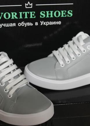 Кеды  кожаные женские gray sneakers, 34-41р