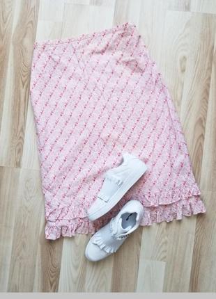 Легкая,летня юбка,котоновая юбка в цветочный прмнт с рюшами