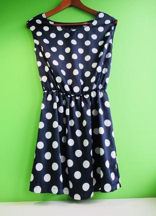 Sale темно-синее шифоновое платье в белый горох