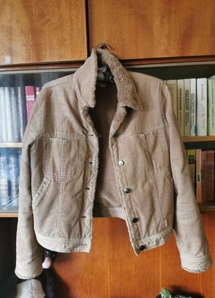 Вельветовая куртка, утепленная шерпа, винтаж