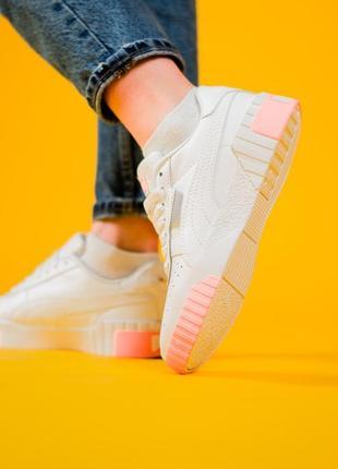 Puma cali белые с розовым ⭕ женские кроссовки ⭕ наложенный платёж