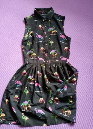 Летнее платье с фламинго