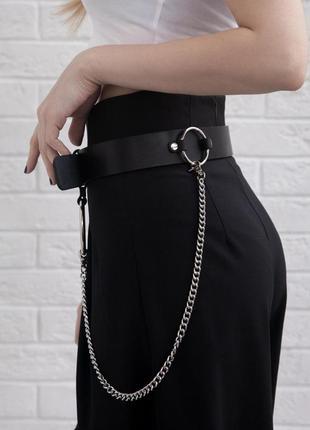 Кожаный ремень с цепью и кольцами. широкий ремень с цепью (размеры и цвета)