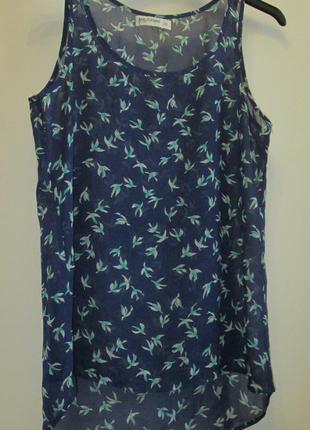 Распродажа легкая стильная блуза маечка птички размер xs