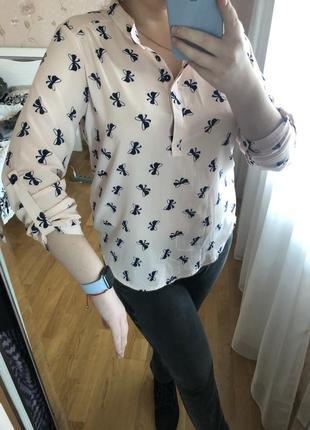 Блуза с мелким бантиком