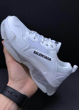 Женские кроссовки balenciaga triple s clear sole white grey