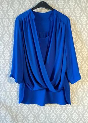 Шифоновая блузка блуза синяя сложный крой с драпировкой воротник стойка