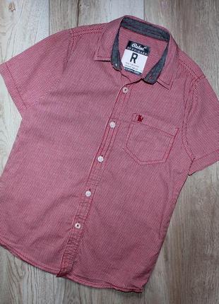 Стильная шведка рубашка сорочка мелкая красно белая клетка ребел rebel