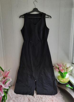Стильное спортивное платье/удлиненный спортивный сарафан/длинное черное платье спорт
