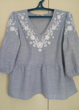 Нарядная 100%cotton блуза с красивой вышивкой xl