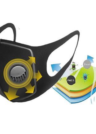 Маска респиратор с клапаном на лицо защитная угольная guard mask (1 шт/уп)