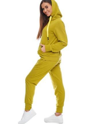 Женский спортивный костюм с капюшоном оливковый, s-xl