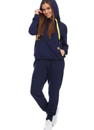Женский спортивный костюм с капюшоном темно-синий, s-xl