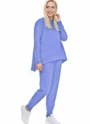 Женский спортивный костюм реглан и брюки синий васильковый, s-xxl