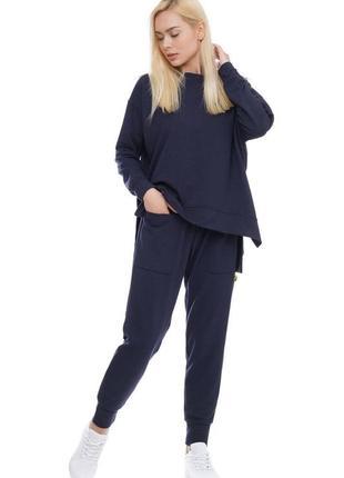 Женский спортивный костюм реглан и брюки темно синий, s-xxl