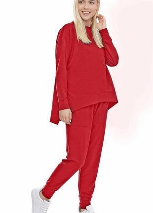 Женский спортивный костюм реглан и брюки красный, s-xxl