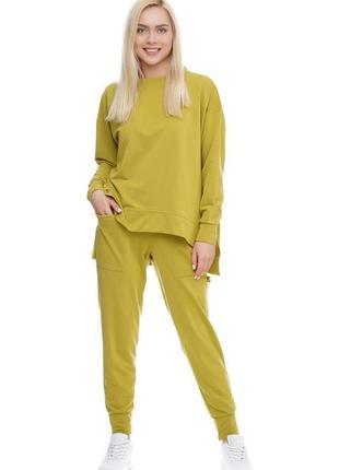 Женский спортивный костюм реглан и брюки оливковый, s-xxl