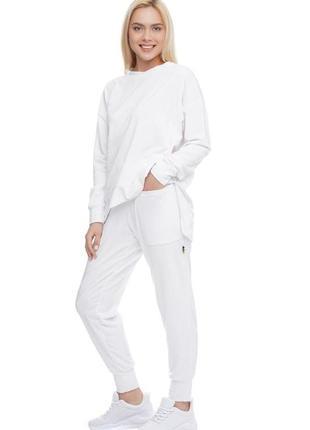 Женский спортивный костюм реглан и брюки белый, s-xxl