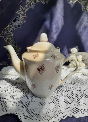 Чайник осень кофейник ссср фарфоровый с деколью барановка