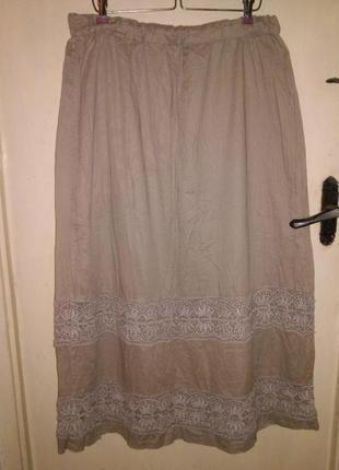 Натуральная,нюдовая-бежевая,длинная юбка на резинке с кружевом,бохо,большого размера
