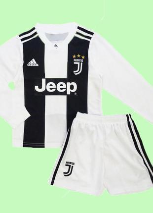 Детская футбольная форма ювентус с длинным рукавом 2019 adidas домашняя (2689)