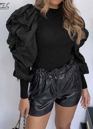 Gianfranco ferre, черная блуза с буфами, натуральный хлопок, вискоза, 40,м