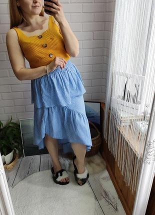 Ассиметричная миди юбка с рюшей от asos