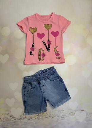 Комплект для девочки шорты футболка скидка