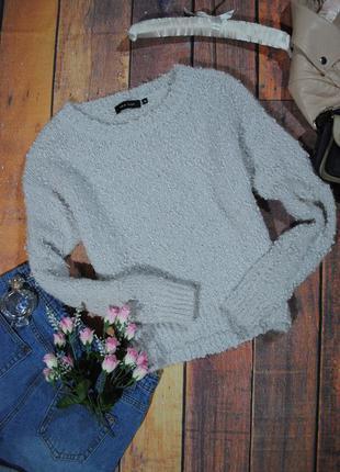 Светло-серый свитерок-букле new look размер uk10 (s/m) джемпер кофта