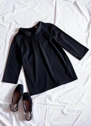 Черная блузка шифоновая, классическая блузка шифоновая, строгая блузка