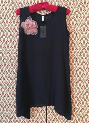 Блуза длинная оверсайз свободная туника накидка шифоновая нарядная  подойдёт беременным