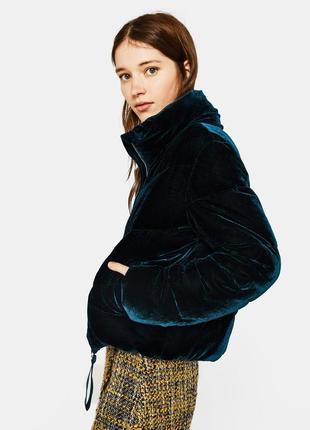 Бархатная,велюровая куртка,дутик,изумрудная зефирка